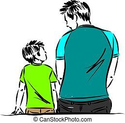 padre, giù, figlio, seduta, vettore, illustrazione