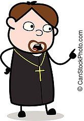 padre, gritar, -, ilustração, vetorial, religiosas, caricatura