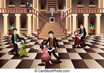 padre, hija, bailando