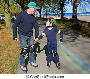 padre, hijo, rollerblade