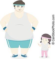 padre, illustrazione, equipaggiamento, ragazza, esercizio, capretto