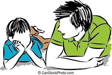 padre, illustrazione, figlio, vettore