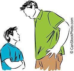 padre, illustrazione, figlio