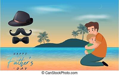 padre, lato, affetto, spiaggia, amore, durante, figlio, giorno