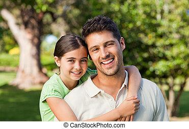 padre, lei, figlia parco