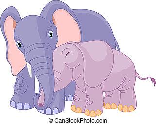 padre, lei, vitello, elefante