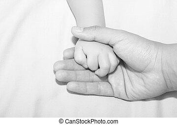 padre, llevar a cabo la mano, hijas