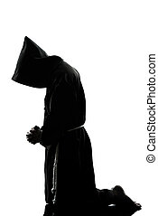padre, orando, silueta, monge, homem