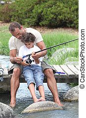 padre, pesca, hijo