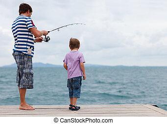 padre, pesca, insieme, figlio