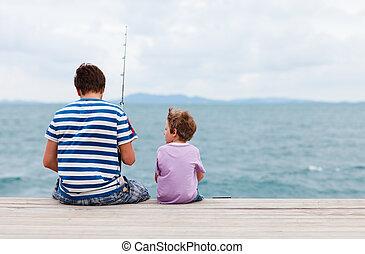 padre, pesca, juntos, hijo