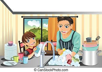 padre, piatti lavaggio, figlio