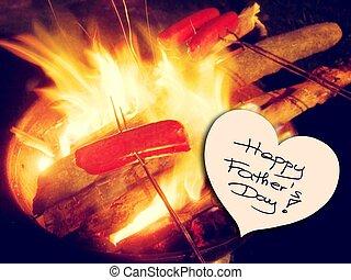 padre, pic, día, ilustración, feliz