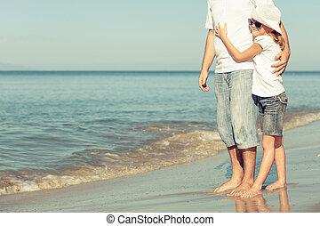 padre, playa., hija, juego