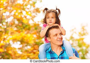 padre, poco, figlia, spalle