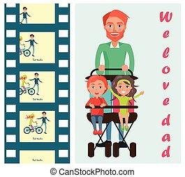 padre, portante, bambini, su, sede due, passeggino, vettore