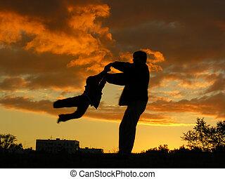padre, ruotare, tramonto, figlio