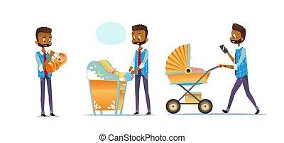 padre, súper, blanco, bebé, pañal, vector, aislado, african - american, proceso de llevar, papá, fatherhood., cuidado, caricatura, plano, hombre, moderno, stroller., illustration., fondo., cambiar, toma, niño, conjunto, alimentación
