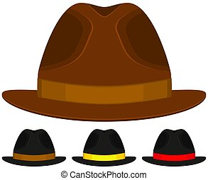 padre, sombrero, hombre, caricatura, colorido, set., día, icono, cartel, gorra, papá