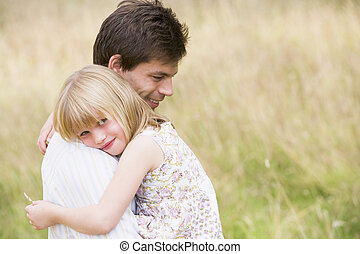 padre, sorridente, figlia, presa a terra, fuori