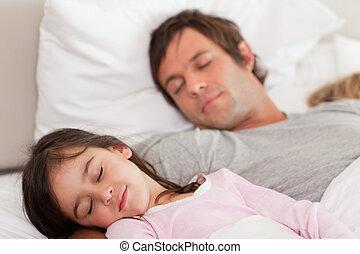 padre, suo, figlia, calma, in pausa