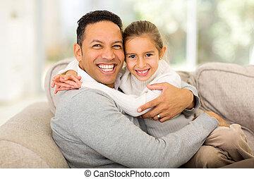 padre, suo, figlia, divano, seduta