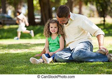 padre, suo, figlia, giardino, seduta