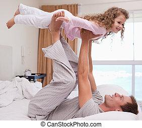 padre, suo, figlia, gioco, aereo