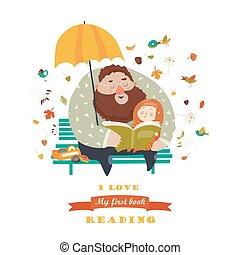 padre, suo, figlia, libro, lettura