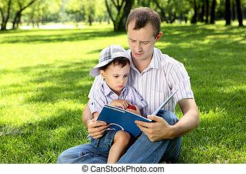 padre, suo, parco, figlio