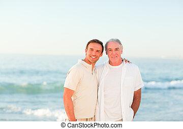 padre, suo, spiaggia, figlio