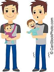 padre, tenere bambino