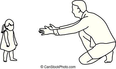 padre, tentando, fare, suo, figlia, camminare, vicino, lei stessa, vettore, illustrazione, contorno, schizzo, mano, disegnato, con, nero, linee, isolato, bianco, fondo., famiglia, concept.
