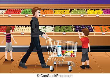 padre, tienda de comestibles, el suyo, compras, niños