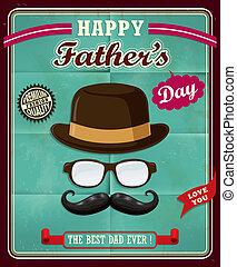 padre, vendimia, diseño, día, cartel