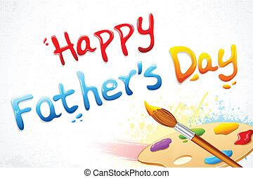 padre, vernice, scritto, spazzola, giorno, felice