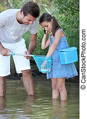 padre, y, el suyo, niña, pesca