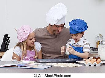 padre y niños, hornada, en la cocina