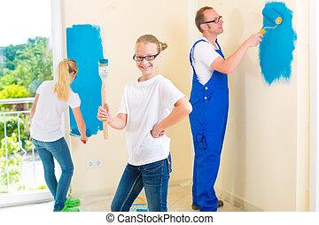 padre, y, niños, pintura, un, pared, en, hogar