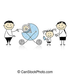 padres, ambulante, con, niños, bebé, en, calesa