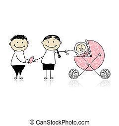 padres, ambulante, con, recién nacido, bebé, en, calesa
