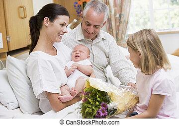 padres, bebé, nuevo