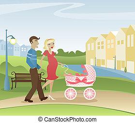 padres, el dar un paseo, en el parque