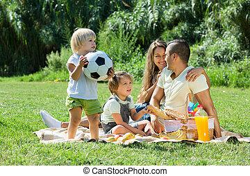 padres, picnic, hijas, teniendo