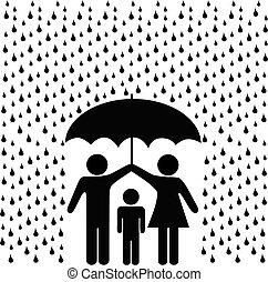 padres, proteger, niño, con, paraguas, en, lluvia