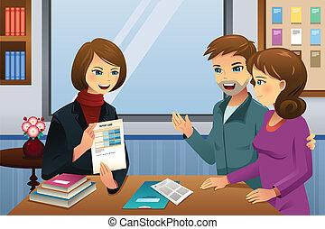 padres, reunión, profesor