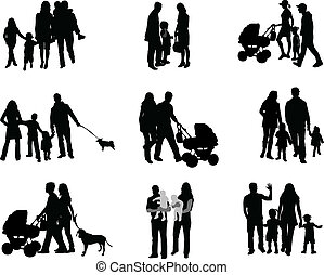 padres, silueta, niños