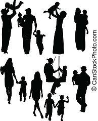 padres, y, niños