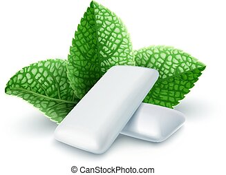 Pads of bubble gum with mint flavour. Green leaves spearmint...