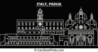 Padua silhouette skyline. Italy - Padua vector city, italian linear architecture, buildings. Padua travel illustration, outline landmarks. Italy flat icons, italian line banner